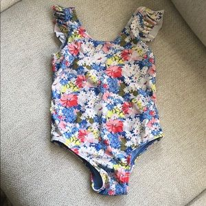Floral ruffle sleeve swimsuit